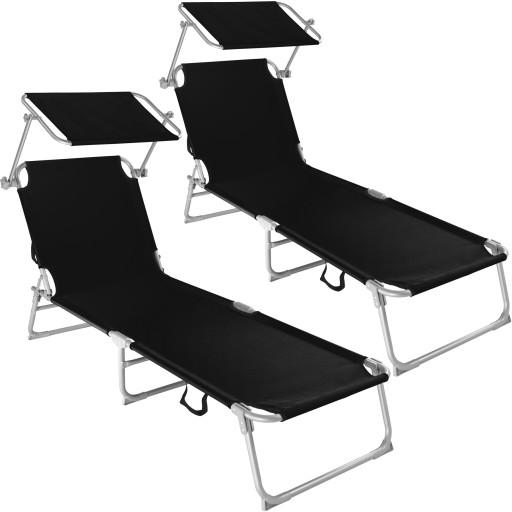 2x Leżaki Ogrodowe Plażowe Z Zadaszeniem 400683