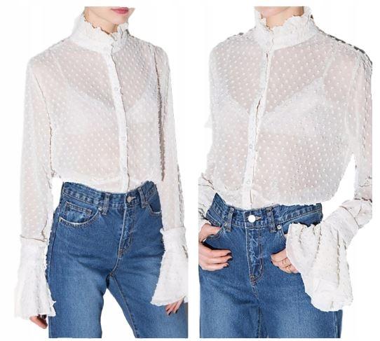 Women's SHIRT with a stand-up collar, original sty 9664446428 Odzież Damska Topy MM GFXYMM-5