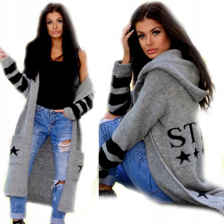 SWETER GRUBY KARDIGAN Z KAPTUREM STyle S M L XL 7539752305 Odzież Damska Swetry AS IOOKAS-5