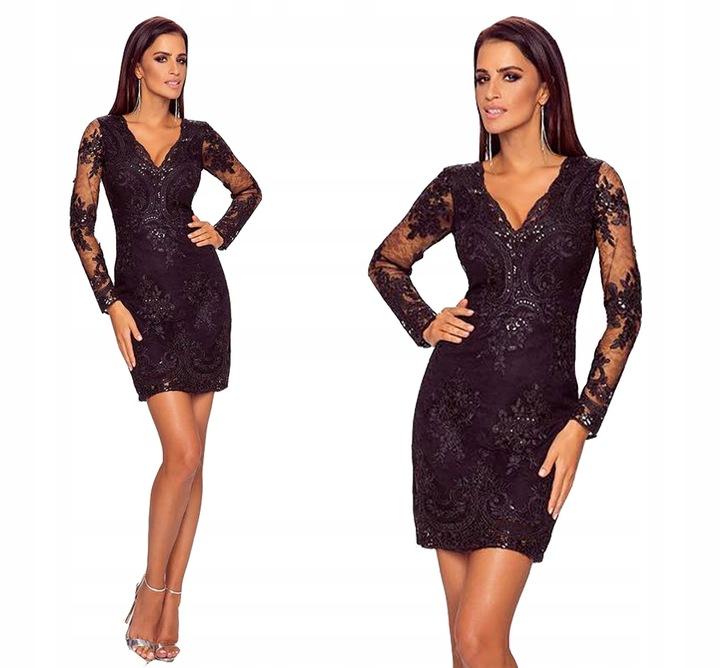 Sukienka elegancka czarna andrzejki S mieniąca 8605924164 Odzież Damska Sukienki wieczorowe UZ LDWGUZ-3