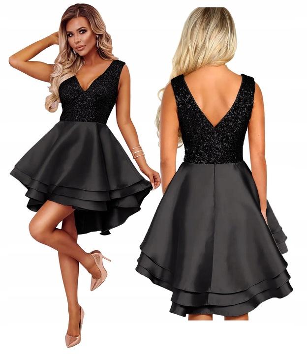 Sukienka asymetryczna cekiny wieczorowa czarna L 7721430329 Odzież Damska Sukienki wieczorowe OM MQXPOM-9